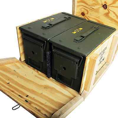 2 Pack - M2A1 50cal Ammo Cans/Ammo Box in Military Surplus Wood Ammunition Crate
