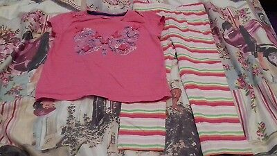girls outfit pink butterfly top + striped leggings 2-3 years