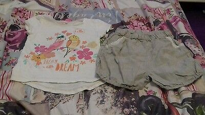 Girls outfit 2-3 years beige shorts + white bird/flower top