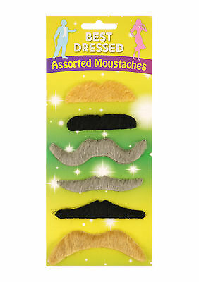 6 or 12 Fake  Self adhesive Assorted Fake Moustache Set Fancy Dress.