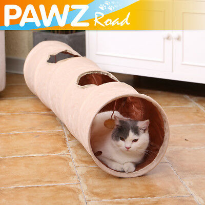 2 Holes Pet Cat Play Tunnel Toys Kitten Rabbit Squeaking Crinkly Funny Tunnels
