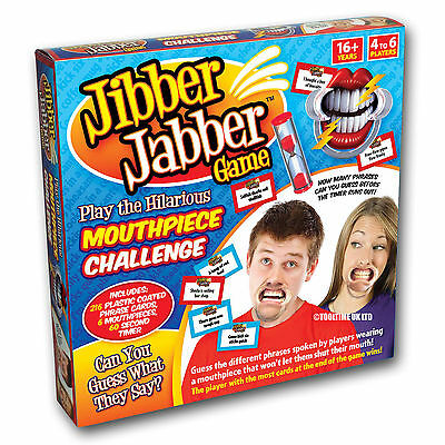 New Jibber Jabber Party Board Game Speak Talk Out Loud Mouthpiece Challenge Game