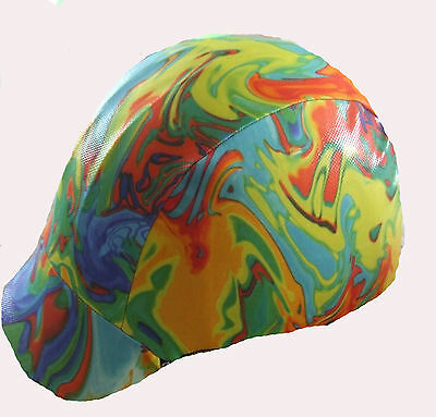 Ecotak dark rainbowed colours lycra helmet cover Ecotak