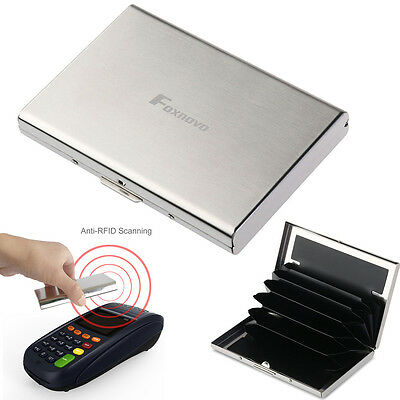 Stainless Anti-RFID Pocket Name Credit ID Business Card Holder Box Case Wallets