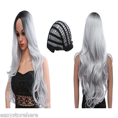 New Women Ombre Long Black Mixed Grey Wigs Heat Resistant Synthetic Hair+Wig Cap