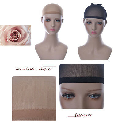 New 2pcs Flexible Breathable Free-size Roses Hair Mesh Net Cool Cap for Wig