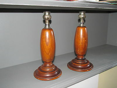 Vintage Pair Of Wood And  Chrome Candlesticks