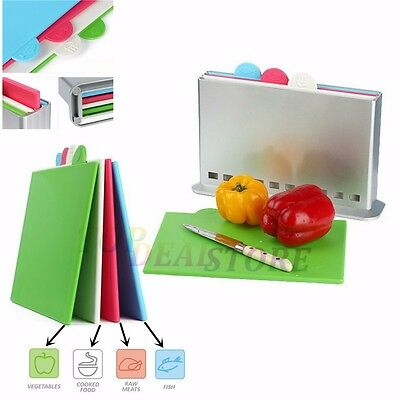 New Cutting Board Set 4 Plastic Chopping Boards With Case Holder