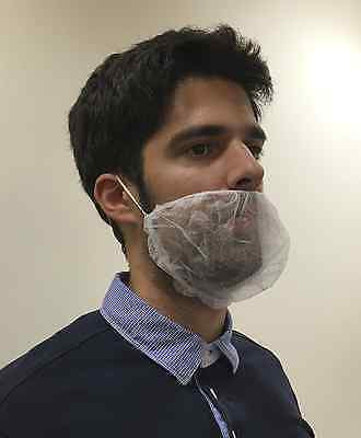 100 White Beard Cover Snood Facial Hair Disposable Mesh Mask Catering Hygiene