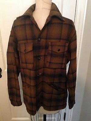 Vintage Pendleton Plaid Board Jacket Long Sleeve Shirt Plaid Wool Loop Collar LG