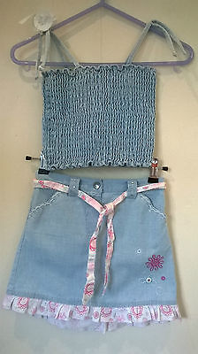 Lady Bird/Tigerlily Aged 5-6  Girls 2 piece denim skirt and top outfit