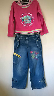 St Bernard for Dunnes Aged 6 years Girls 2 piece denim jeans & pink top outfit