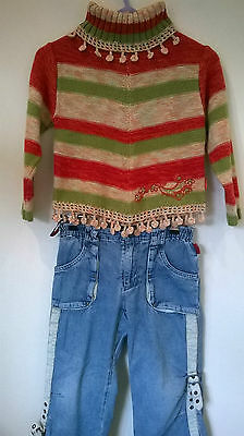 Pampolina Age 5-6 years 2 piece embroidered denim jeans and jumper outfit
