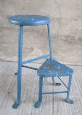 Vintage Industrial Metal Stool w/ SWIVEL STEP SEAT - Chair - Kitchen - Blue (#8)