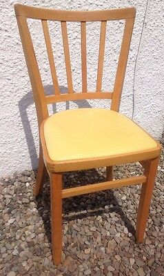 Retro Wooden Dining Kitchen Cafe Chair Yellow Vinyl Seat