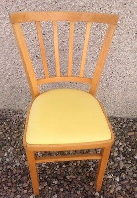 Retro Wooden Dining Kitchen Cafe Chair With Yellow Vinyl Seat
