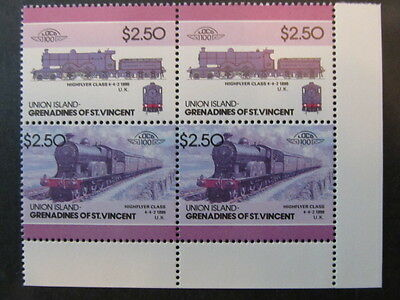 GRENADINES of ST VINCENT-UNION ISLANDS, LOCOMATIVES BLOCK COLOR ERROR, MINT