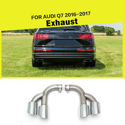 Steel Sport Quad Pipes Rear Exhaust Muffler Tips fit for AUDI Q7 Typ 4M 2016