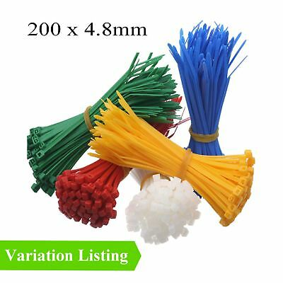 100 x Coloured Nylon Cable Ties 300 x 4.8mm / Extra Strong Zip Tie Wraps