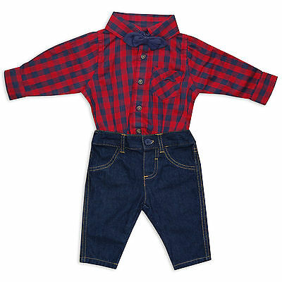 Baby Boys 2 Piece Cotton Set Checked Shirt With Bow Tie & Jeans by Little Gent