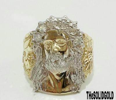 New 10K Yellow Gold Two Tone Jesus Face Head Lord Hip Hop Style Ring 04783
