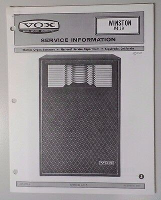 Original Vox Amplifier - Winston V419 - Service Information