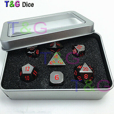 Black and Red DnD Metal Dice Set with Iron Box