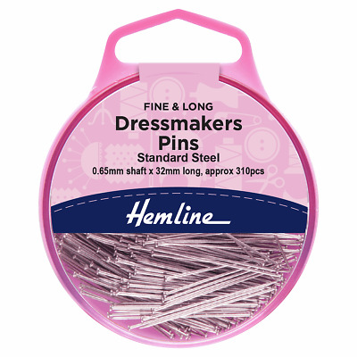 Dressmakers Fine Pins High Carbon Nickel Coated Steel 33mm long x 310 pins