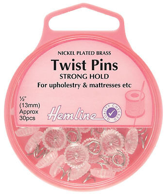 Hemline - Twist Pins: Nickel 13mm 30pcs