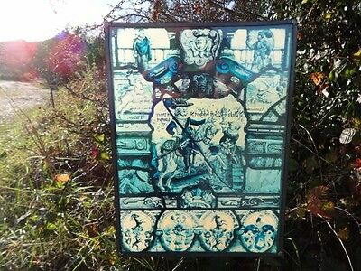 Vintage leaded window hanging with medieval scene