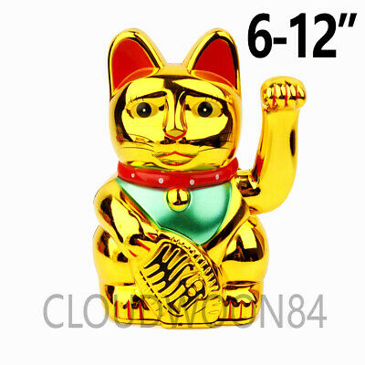 "Chinese Lucky Cat Waving Arm Good Luck 6""-12"" Feng Shui Japanese Maneki Neko"