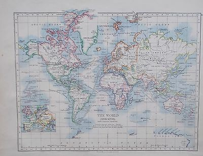 Map of the World. W & AK Johnston  Original. UK