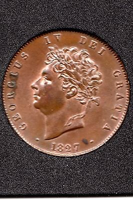 1827 George 1V  Half-Penny Coin,  E/f + Touch Of Luster,  In Quadrum Capsule.
