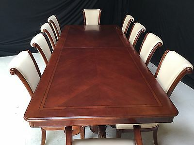 10ft BEAUTIFUL DESIGNER TRIPLE PEDESTAL GRAND DINING SET PRO FRENCH POLISHED