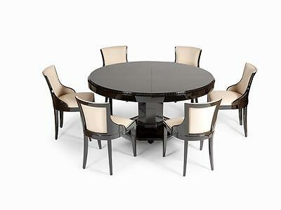 Amazing Art Deco Large Oval Table and 6 Chairs  France 1930s
