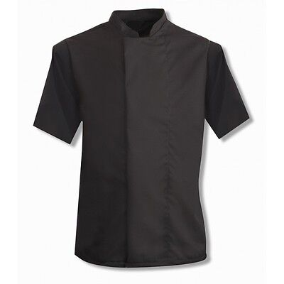 Black Chefs Jacket, Half Sleeves With Concealed Press Stud Fastening Tunic Ins11