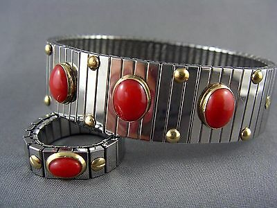 EXQUISITE Designer ITALY Stainless Gold Genuine Coral Expansion Bracelet & Ring