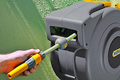 20M Water Hose Reel Garden Wall Mounted Auto Rewind Watering Pipe Patio Outdoor