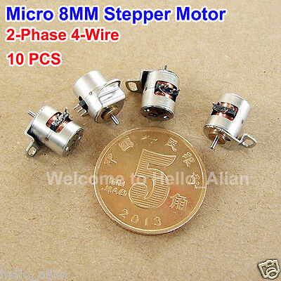 10PCS Micro Mini 8MM 2-Phase 4-Wire Stepper Motor Mini Stepper Motor with Rod