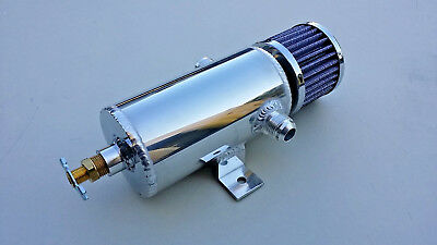 Polished Baffled Aluminum Breather Tank Oil Catch Can Tube with 10 AN Ports