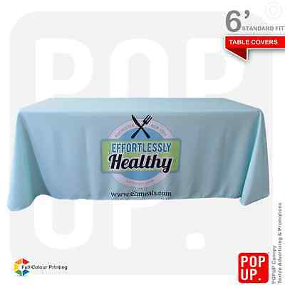 6ft Table Cover Custom Printed, Standard Fit, 4 Sided, Fast Delivery