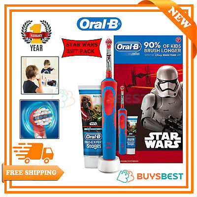 Oral-B Star Wars Kids Boy Electric Toothbrush Stages Power +Toothpaste GiftSet