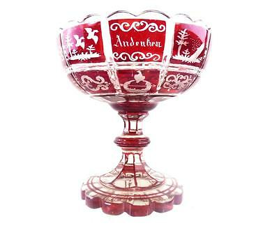 Antique Bohemian Ruby Overlay Cut To Clear Spa Glass Tazza Comport