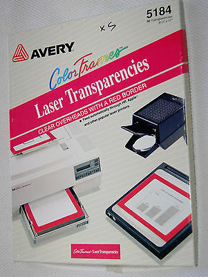 Avery 5184 Laser Transparency Overhead Film 50 Sheets Clear w/ Red Border