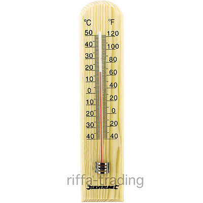 Wooden Wall Thermometer,Celsius Farenheit,Indoor Outdoor,Hanging,Hung,Mount,Home