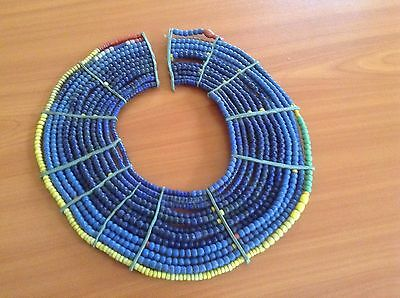 African-Arena Handmade Pokot Women Beads Antique Blue Large Beaded Necklace • CAD $158.11