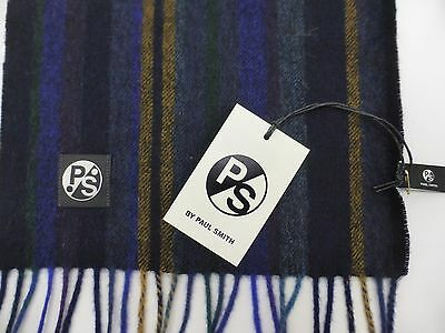 Paul Smith Scarf 100% Wool College Stripe Blue / Green / Gold