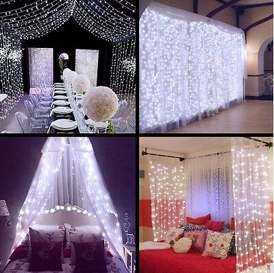 2M 3M 6M LED Indoor Outdoor Curtain Fairy Light String Xmas Party