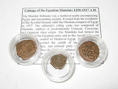 Ancient Islamic 3 copper coin starter collection Mamluk sultan Egypt 1250 A.D.