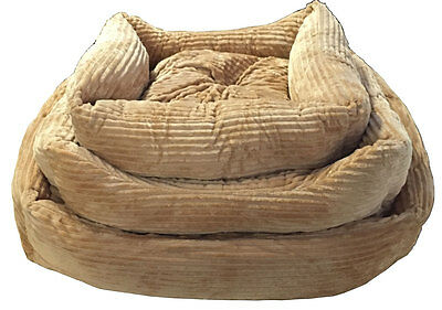 New Cord Brown Deluxe Soft Washable Dog Cat Pet Warm Basket Bed Cushion Lining